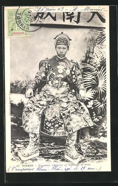 AK Tonkin, Empereur d`Annam en Costume de Cour, Kaiser Thanh Thai