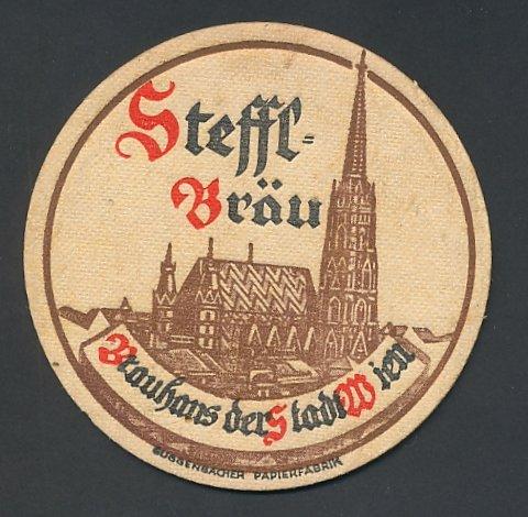 Bierdeckel-AK Wien, Brauhaus der Stadt Wien, Steffl-Bräu, Stefansdom, Brauerei-Werbung
