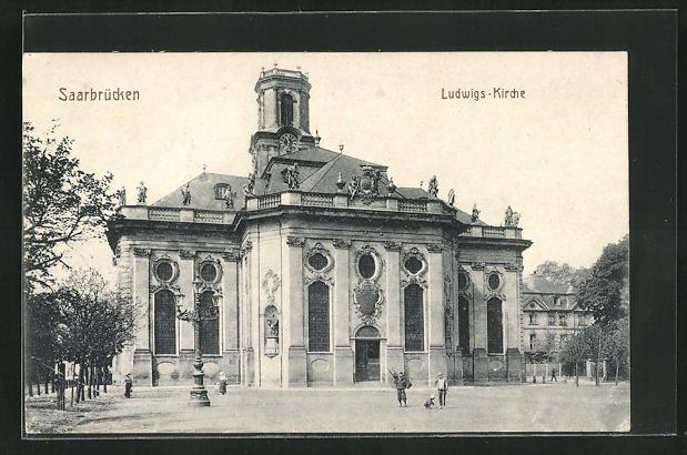 AK Saarbrücken, Blick zur Ludwigskirche