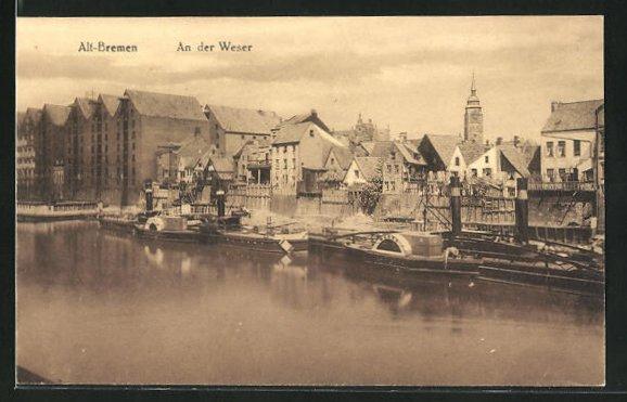 AK Bremen, Ortsansicht mit Weserufer