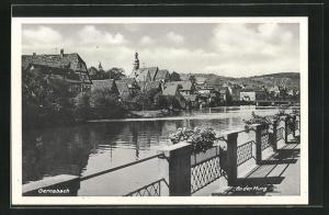 AK Gernsbach, Ortsansicht vom Ufer der Mung aus gesehen