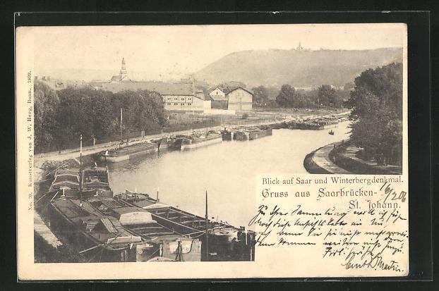 AK Saarbrücken-St. Johann, Blick auf Saar und Winterbergdenkmal