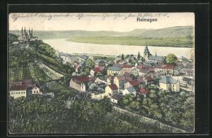 AK Remagen, Ortsansicht mit Blick auf Häuser und Kirche, Rhein