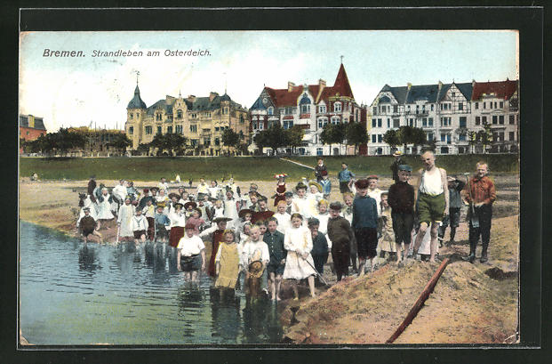AK Bremen, Strandleben am Osterdeich, Kinder am Wasser, Villen