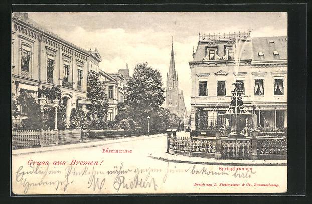 AK Bremen, Burenstrasse mit Springbrunnen