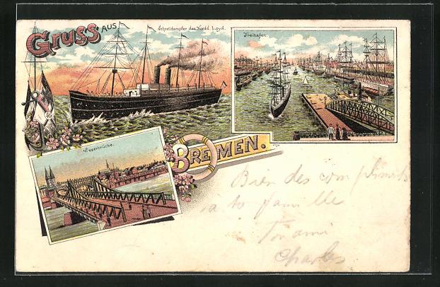 Lithographie Bremen, Weserbrücke, Freihafen, Schnelldampfer des Nord-Lloyd