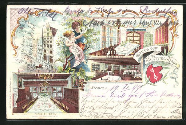 Lithographie Bremen, Alt-Bremer-Haus, Rococo-Saal, Galerie, Patrizier-Saal, Wappen