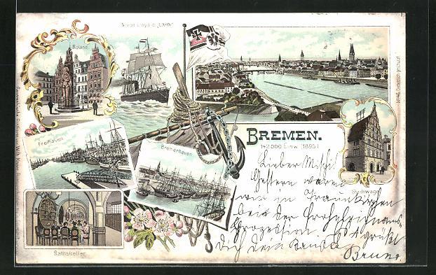 Lithographie Bremen, Roland, Freihaven, Bremerhaven