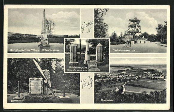 AK Vaals, Obelisk, Denkmal, Wilhelminatoren, Totalansicht mit Landschaft