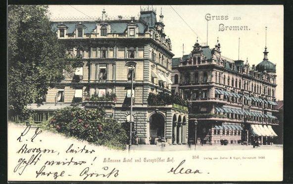 AK Bremen, Hillmanns Hotel und Europäischer Hof