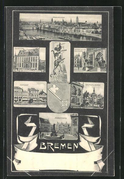 AK Bremen, Marktplatz, Domshof, Baumwoll-Börse, Ritter vor dem Rathause, Schütting, Wappen, Stadtmusikanten