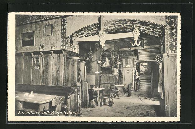 AK Bremen, Gasthaus Brauerei Wilhelm Remmer, Pelzerstr. 15-16, Altdeutsche Bierstuben, Durchblick mit Wagebalken