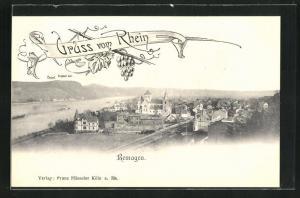AK Remagen, Ortsansicht mit Kirche, Häuser und Blick auf Rhein