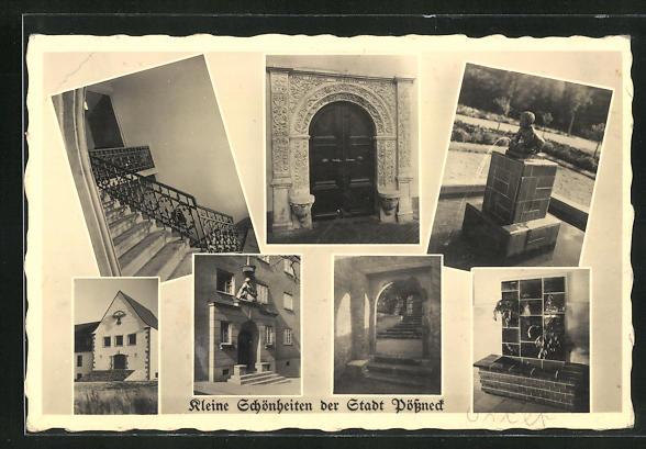 AK Pössneck, HJ-Heim, Bahnhofstr. 20, Brunnen Stadtbad, Tor Kriegergedächtnisstätte, Treppe i. Rathaus