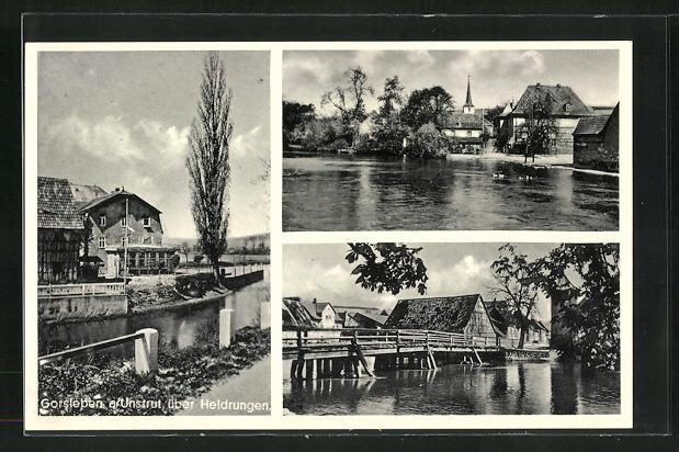 AK Gorsleben a. Unstrut, Teilansicht mit Holzbrücke und Reetdachhäuser, Blick auf Kirche vom Wasser