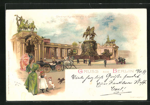 Lithographie Berlin, Denkmal Kaiser Wilhelm der Grosse