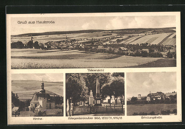 AK Hauteroda, Kirche, Kriegerdenkmäler 1866, 1871, 1918, Erholungsheim, Totalansicht mit Feldern