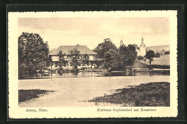 AK Auma / Thür., Kurhaus Sophienbad am Kesselsee