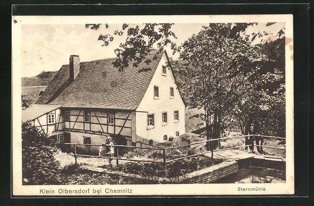 AK Klein Olbersdorf, Sternmühle von Anhöhe aus