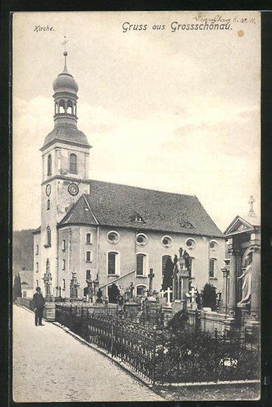AK Grossschönau, Kirche mit Friedhof