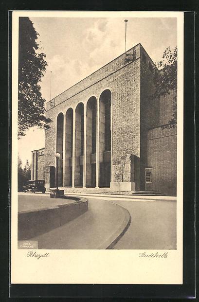 AK Rheydt, Stadthalle mit Auffahrt