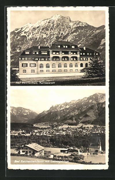 AK Bad Reichenhall, Kurlazarett, Ortsansicht mit Kirche und Lattengebirge
