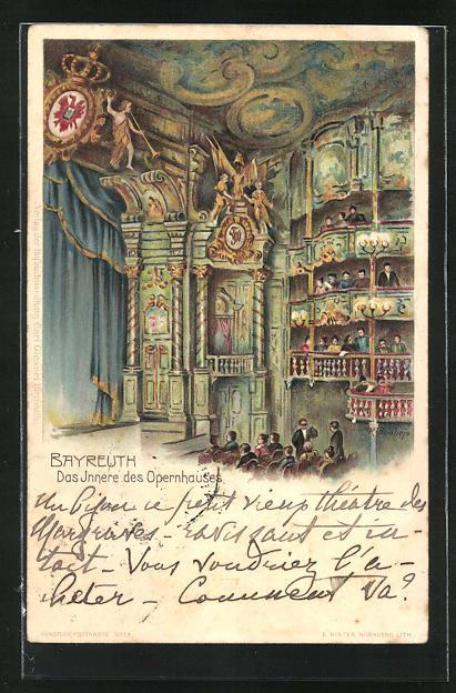 AK Bayreuth, Opernhaus, Innenansicht mit Balkonen