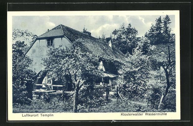 AK Templin, Klosterwalder Wassermühle mit Garten