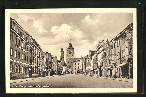 AK Vilsbiburg, Hindenburgplatz, Bezirks-Sparkasse, Häuserfassaden und Erker 0