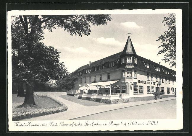 AK Rengsdorf, Hotel-Pension zur Post, Eckfassade