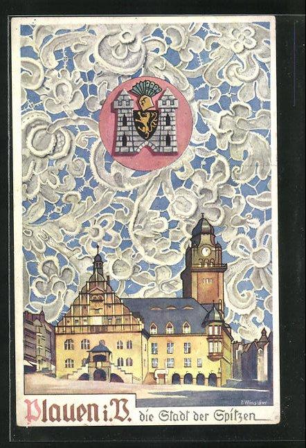AK Plauen i. V., Rathaus, Wappen, Spitze
