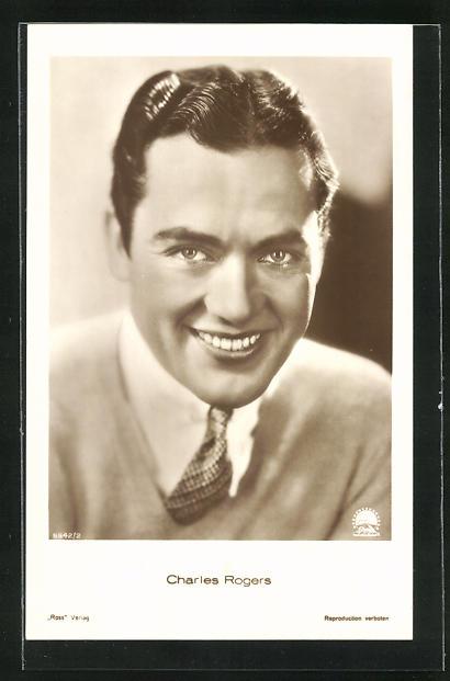 AK Schauspieler Charles Rogers in die Kamera lächelnd