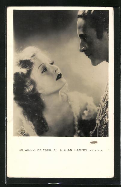 AK Schauspieler Lilian Harvey und Willy Fritsch in einem gemeinsamen Film