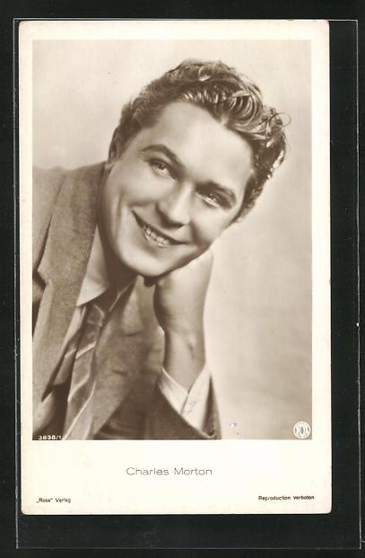 AK Schauspieler Charles Morton im Anzug zur Seite lächelnd