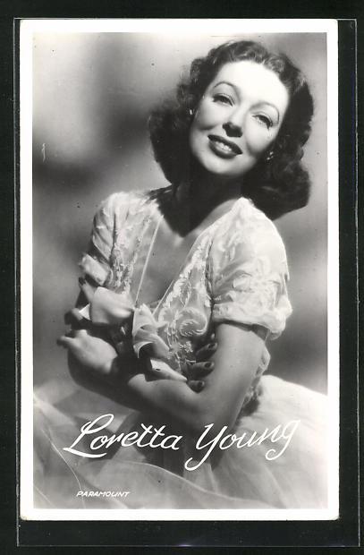 AK Schauspielerin Loretta Young im Kostüm einer Filmrolle