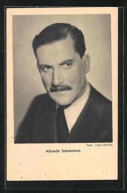 AK Schauspieler Albrecht Schoenhals nachdenklich zur Seite schauend