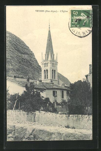AK Veynes, L`Eglise, Blick zur Kirche