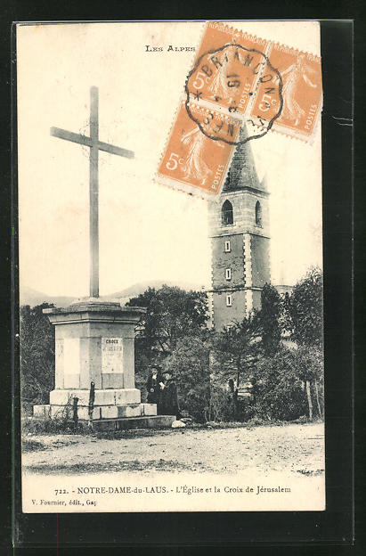 AK Notre-Dame-du-Laus, l'Eglise et la Croix de Jerusalem