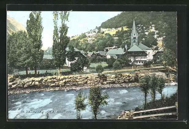 AK Vallouise, Ortsansicht mit Kirche