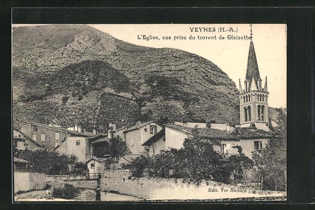 AK Veynes, L'Eglise, vue prise du torrent de Glaizette