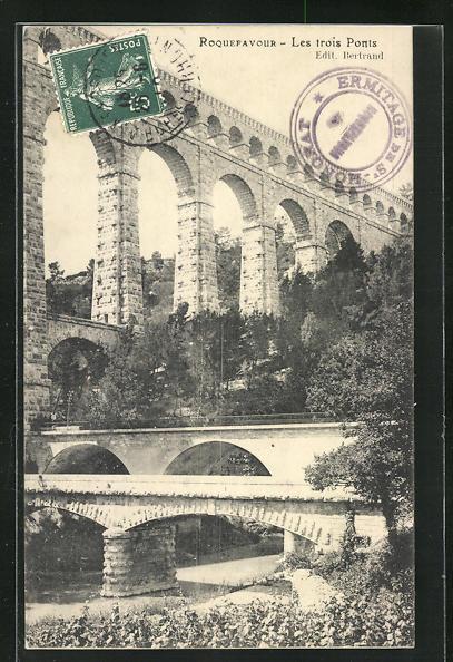 AK Roquefavour, Les trois Ponts, Die drei Brücken