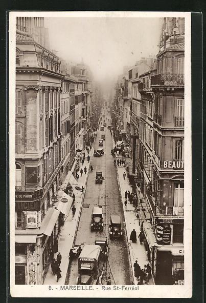 AK Marseille, Rue St-Ferréol, Strassenpartie im Zentrum