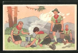 AK Pfadfinder bereiten eine Mahlzeit auf einer Feuerstelle zu