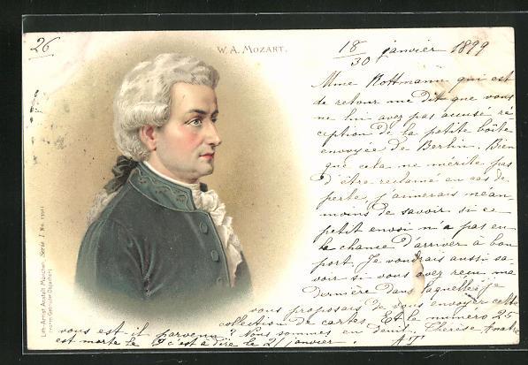 AK Komponist Wolfgang Amadeus Mozart, Brustportrait
