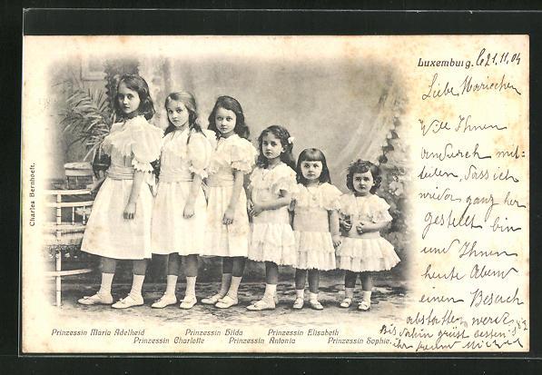 AK Prinzessin Maria Adelheid von Luxemburg mit ihren Schwestern Hilda, Charlotte, Antonia, Elisabeth u. Sophie