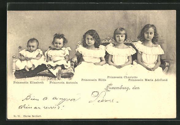 AK Prinzessin Maria Adelheid von Luxemburg mit ihren Schwestern Elisabeth, Antonia, Hilda und Charlotte