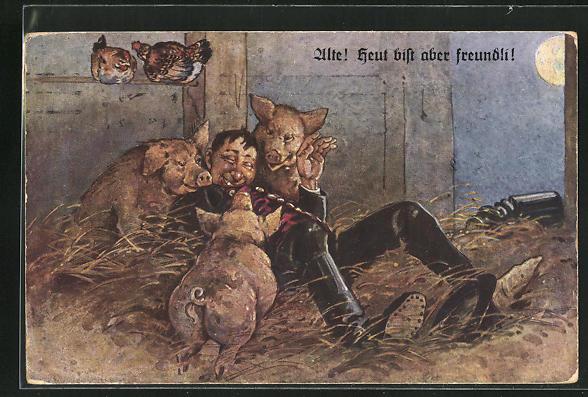 AK Betrunkener Mann liegt im Heu zwischen Schweinen, Trinkerhumor