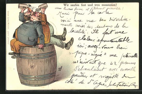 AK Männer sitzen auf einem Fass und trinken Bier, Trinkerhumor