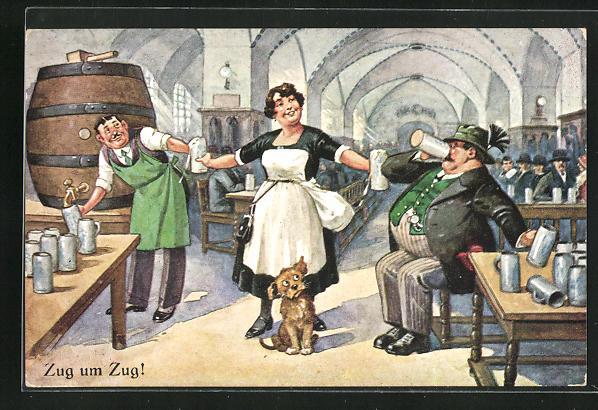 AK Kellnerin reicht dem durstigen Gast ein Bier nach dem anderen, Zug um Zug!, Trinkerhumor
