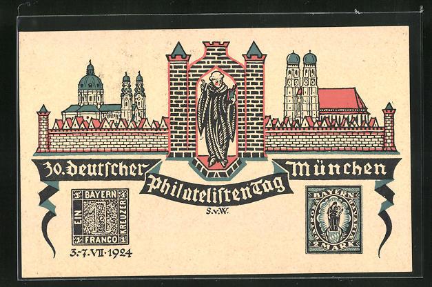 AK München, 30. Deutscher Philatelistentag 1924, Ausstellung, Stadtpanorama und Briefmarken